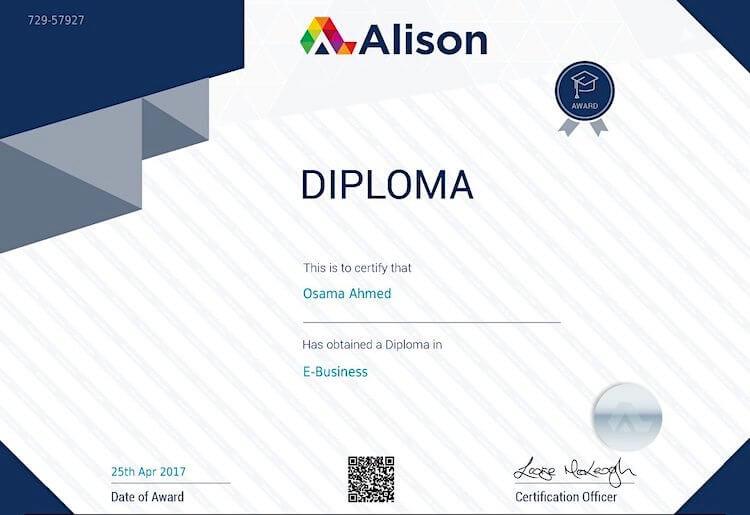 Diploma In E-Business Certificate - Alison