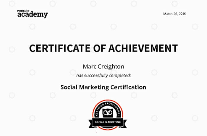 Social Media Marketing Course Certificate 2021 - Hootsuite Academy